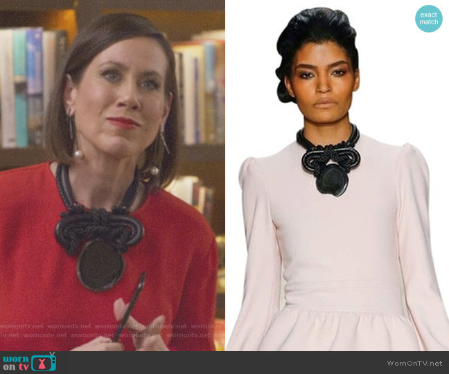 Braided Leather Oversized Statement Necklace by Tom Ford worn by Miriam Shor on Younger