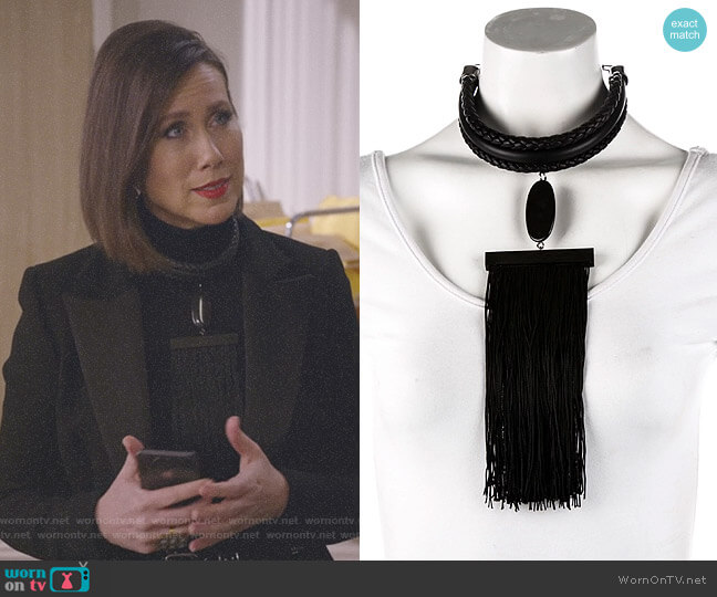 Leather Tassel Necklace by Tom Ford worn by Diana Trout (Miriam Shor) on Younger