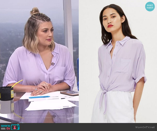 Knot Front Shirt by Topshop worn by Carissa Loethen Culiner on E! News