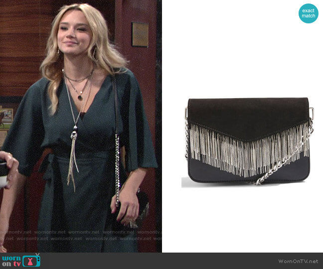 Topshop Remy Chain Flap Faux Leather Crossbody Bag worn by Summer Newman (Hunter King) on The Young & the Restless