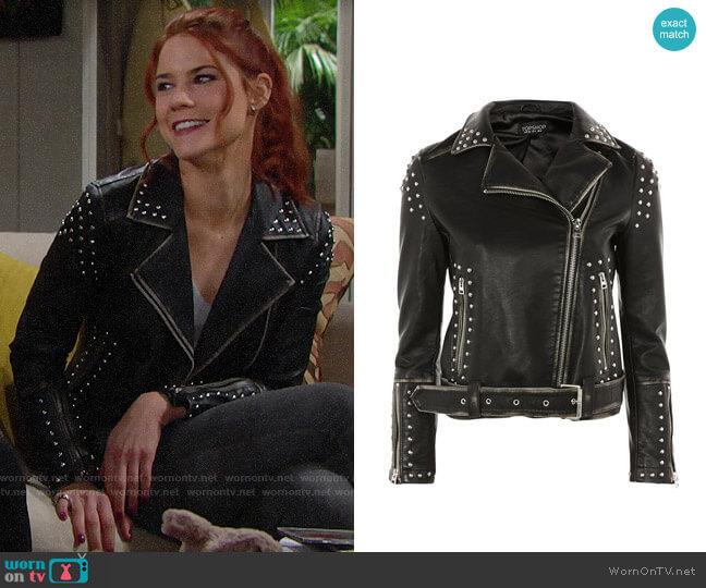 Topshop Studded Biker Jacket worn by Sally Spectra (Courtney Hope) on The Bold & the Beautiful