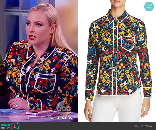 Jackie Floral Dot Silk Blouse by Tory Burch worn by Meghan McCain (Meghan McCain) on The View
