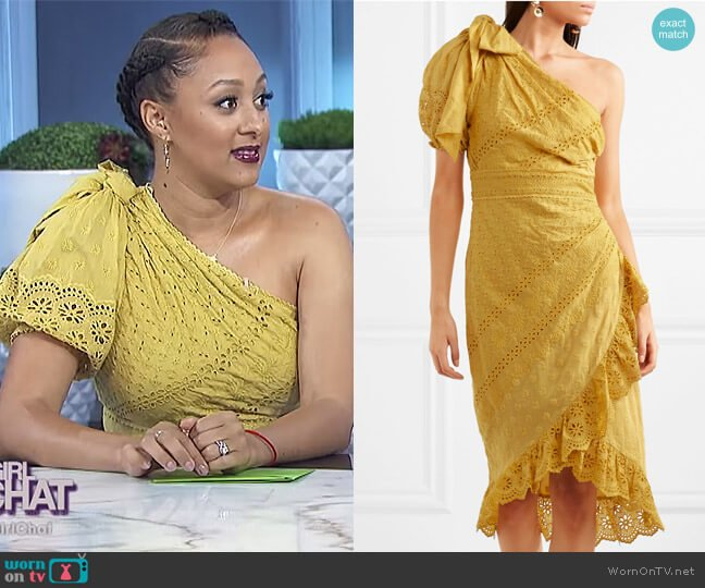 Gwyneth one-shoulder broderie anglaise cotton dress by Ulla Johnson worn by Tamera Mowry on The Real