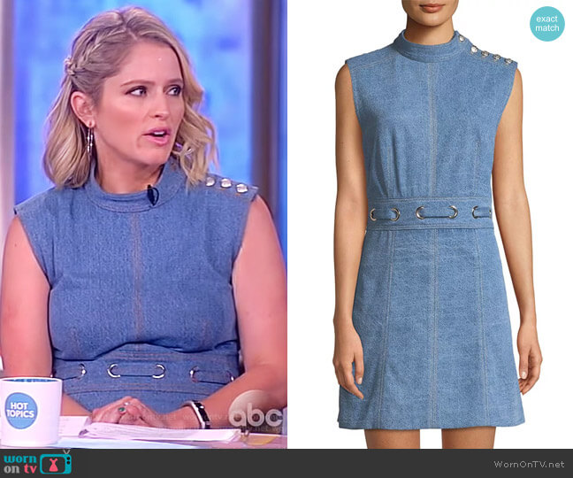 Nico Mock-Neck Grommet-Waist Chambray Dress by Veronica Beard worn by Sara Haines  on The View