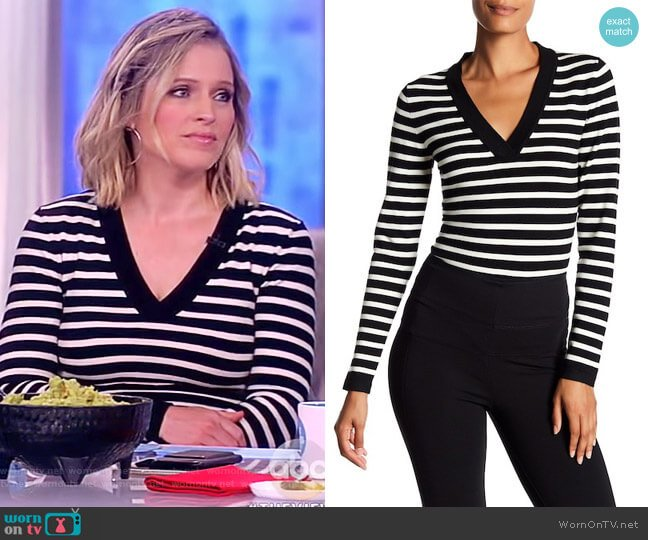 Striped V-Neck Wool Blend Bodysuit by Veronica Beard worn by Sara Haines  on The View