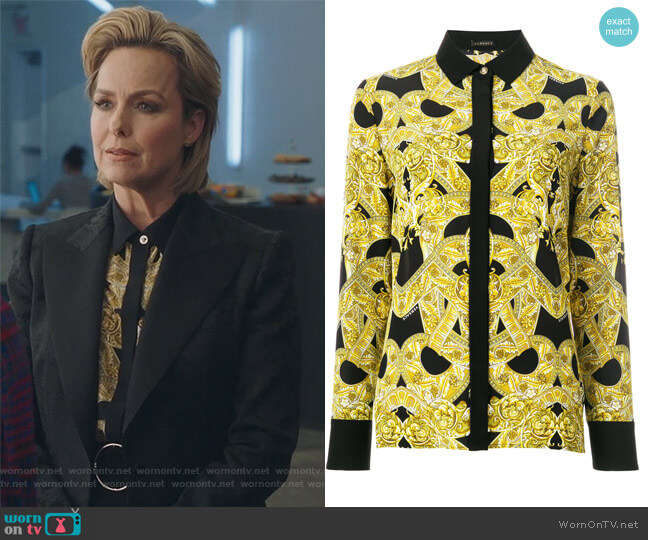 Baroque print shirt by Versace worn by Melora Hardin on The Bold Type