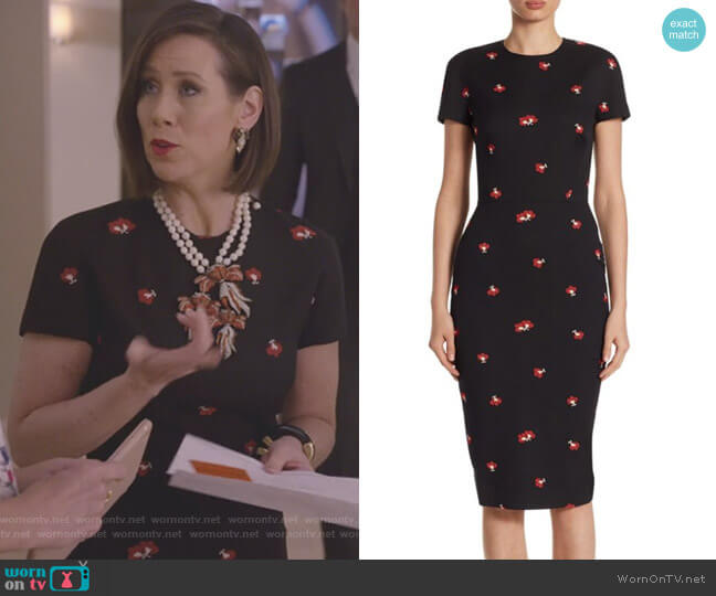 Floral Fitted Dress by Victoria Beckham worn by Diana Trout (Miriam Shor) on Younger