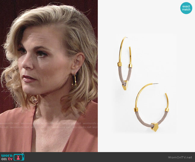Vince Camuto Summer Warrior Hoop Earrings worn by Phyllis Newman (Gina Tognoni) on The Young & the Restless