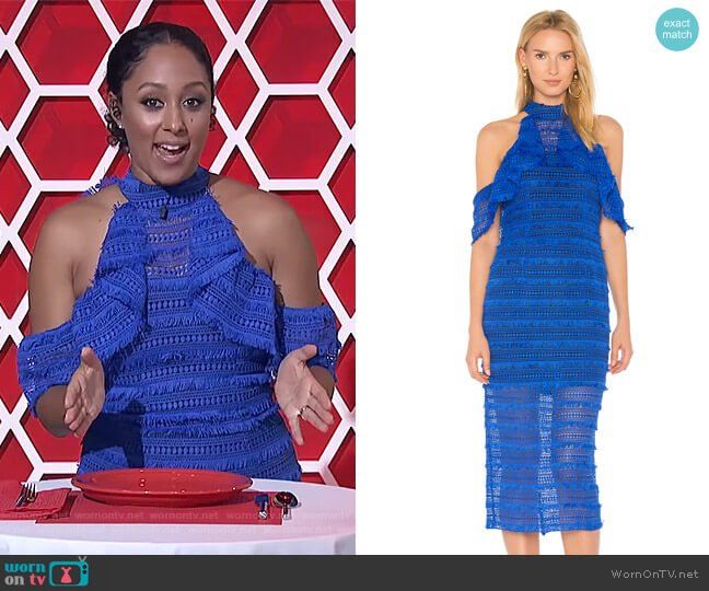 Cold Shoulder Lace Dress by Vone worn by Tamera Mowry on The Real