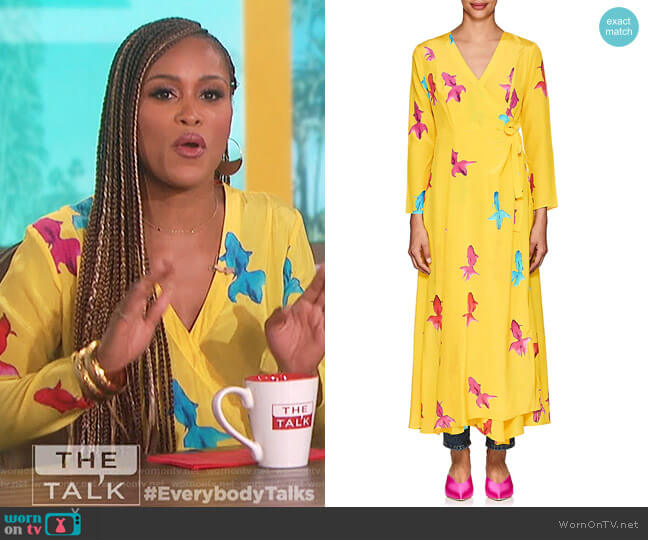 Koi-Print Silk Maxi Wrap Dress by We Are Leone worn by Eve  on The Talk