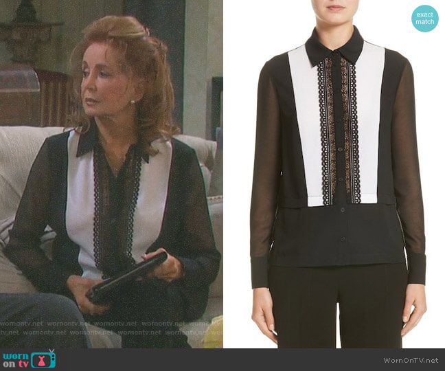 Silk Tuxedo Blouse by Yigal Azrouel worn by Suzanne Rogers on Days of our Lives