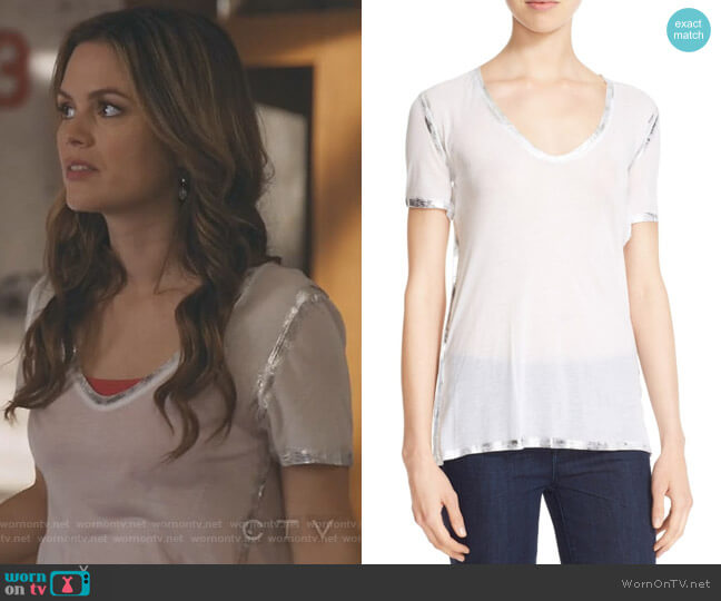 'Tino' Foil Accent Tee by Zadig & Voltaire worn by Samantha Swift (Rachel Bilson) on Take Two