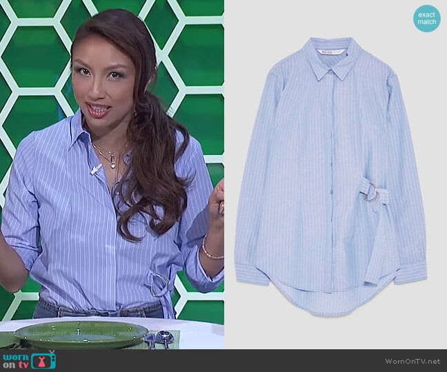 Striped Shirt with Buckle Detail by Zara worn by Jeannie Mai on The Real