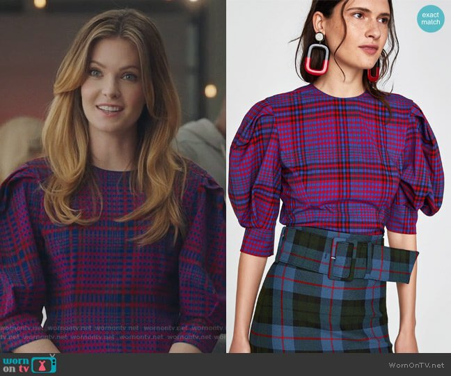 Checked Top by Zara worn by Meghann Fahy on The Bold Type