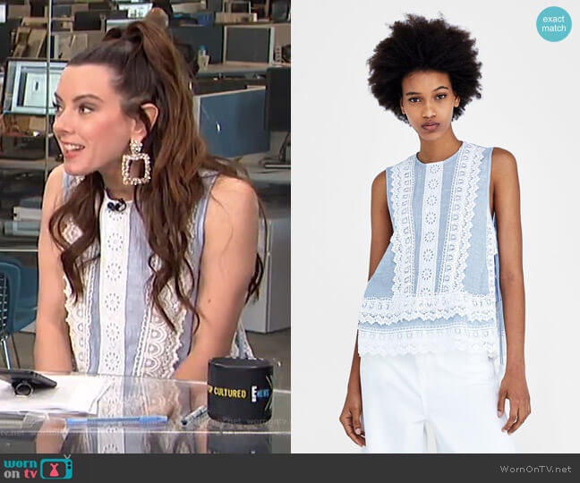 Contrasting Combination Top by Zara worn by Melanie Bromley  on E! News