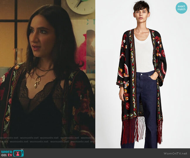 Embroidered Kimono with Fringing worn by Adena El-Amin (Nikohl Boosheri) on The Bold Type