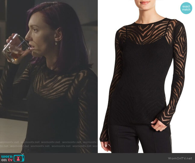 Zebra Knit Pullover by Helmut Lang worn by Rainee Blake on Nashville