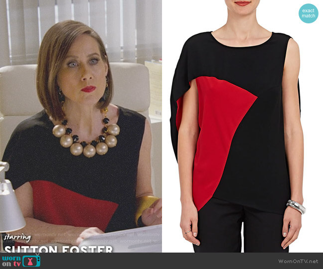 Amale Colorblocked Crepe Blouse by Zero + Maria Cornejo worn by Diana Trout (Miriam Shor) on Younger