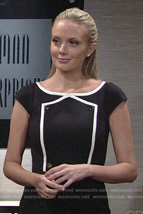 Abby's navy buttoned detail dress on The Young and the Restless