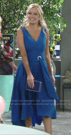 Abby's blue belted v-neck dress on The Young and the Restless