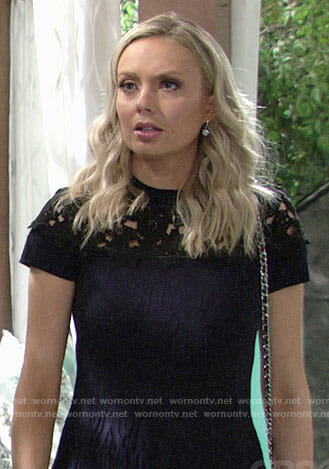 Abby's navy and black lace dress and butterfly heels on The Young and the Restless