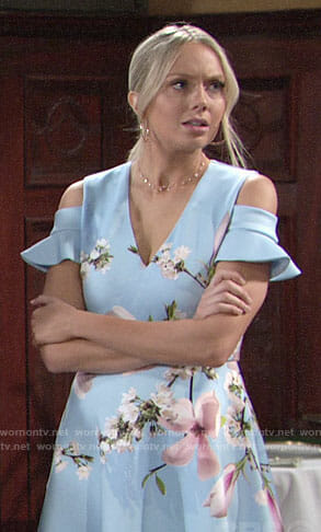Abby's blue floral cold-shoulder dress on The Young and the Restless