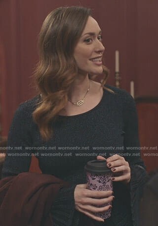 Abigail's metallic ribbed bell sleeve top on Good Witch
