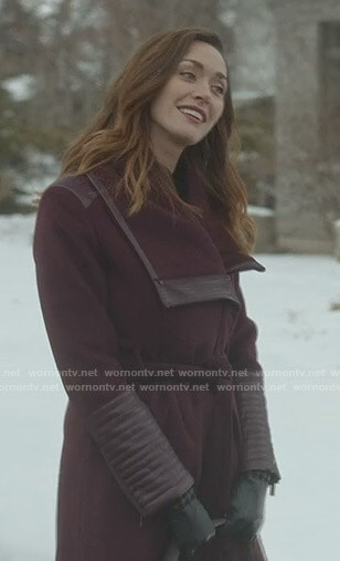 Abigail's purple leather trimmed wrap coat on Good Witch