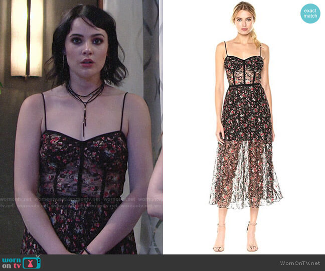 ABS Allen Schwartz Floral Bustier Midi Dress worn by Cait Fairbanks on The Young & the Restless