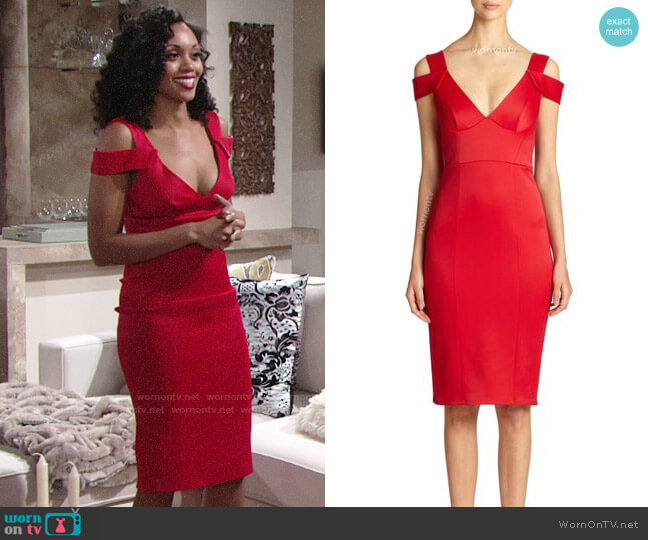 ABS by Allen Schwartz Cold Shoulder Dress worn by Mishael Morgan on The Young & the Restless