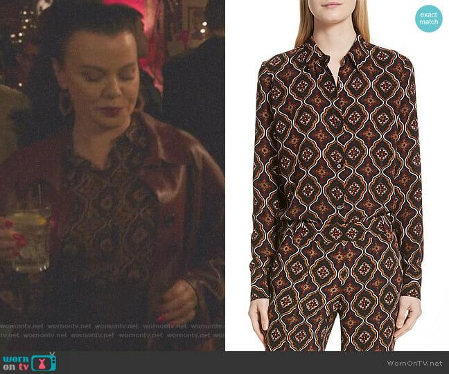 Aubrey Print Silk Top by ALC worn by Maggie (Debi Mazar) on Younger