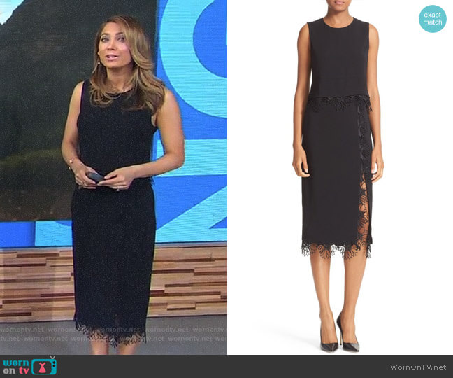 Nikos Lace Trim Top and Holland Floral Trim Skirt by ALC worn by Ginger Zee on Good Morning America