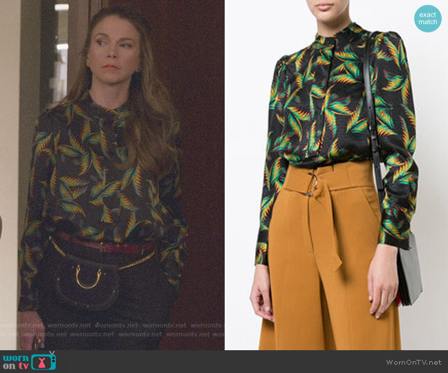 Leaves Print Fitted Shirt by ALC worn by Liza Miller (Sutton Foster) on Younger