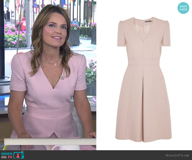 Pleated Wool-Blend Mini Dress by Alexander McQueen worn by Savannah Guthrie on Today