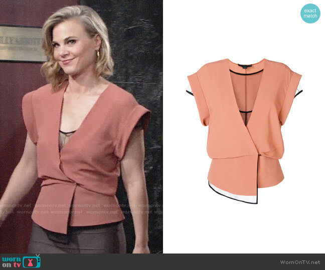 Alexander Wang Layered Wrap Top worn by Phyllis Newman (Gina Tognoni) on The Young & the Restless