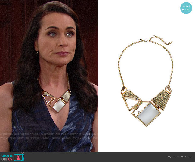 Alexis Bittar Geometric Raffia Bib Necklace worn by Rena Sofer on The Bold & the Beautiful