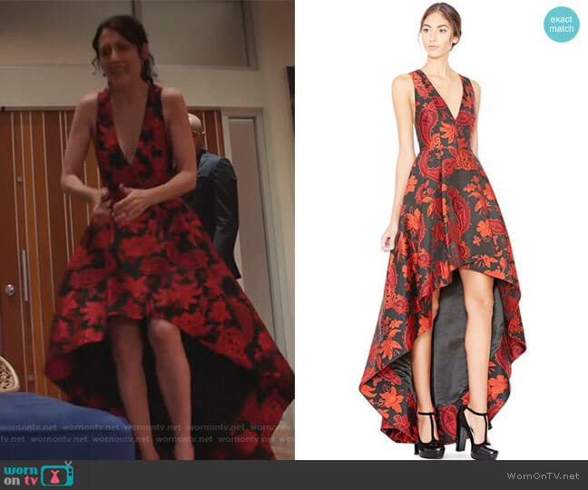 Beckie V Neck Flower Gown by Alice + Olivia worn by Lisa Edelstein on GG2D
