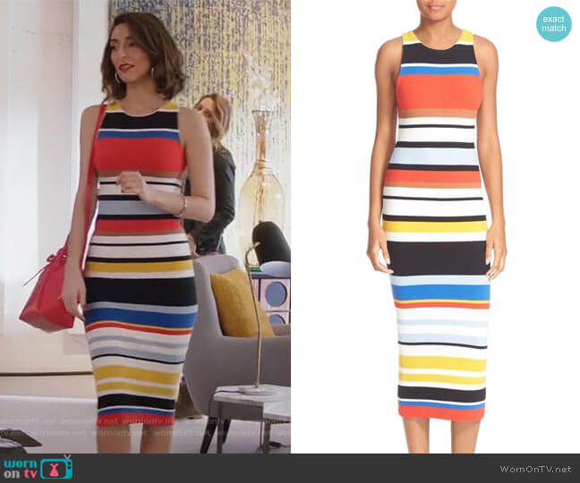 Jenner Stripe Knit Midi Dress by Alice + Olivia worn by Necar Zadegan on GG2D