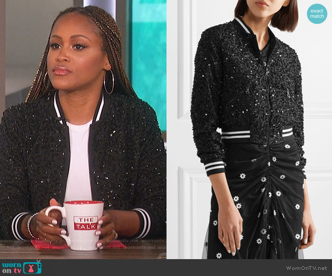 Lonnie embellished silk-chiffon bomber jacket by Alice + Olivia worn by Eve on The Talk