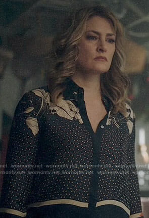 Alice's floral and dot print shirt on Riverdale