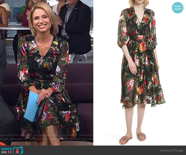Wornontv Amy S Black Floral Wrap Dress On Good Morning