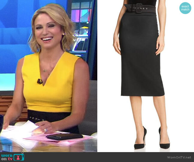 'Kerstin' Belted Pencil Skirt by Alice + Olivia worn by Amy Robach  on Good Morning America