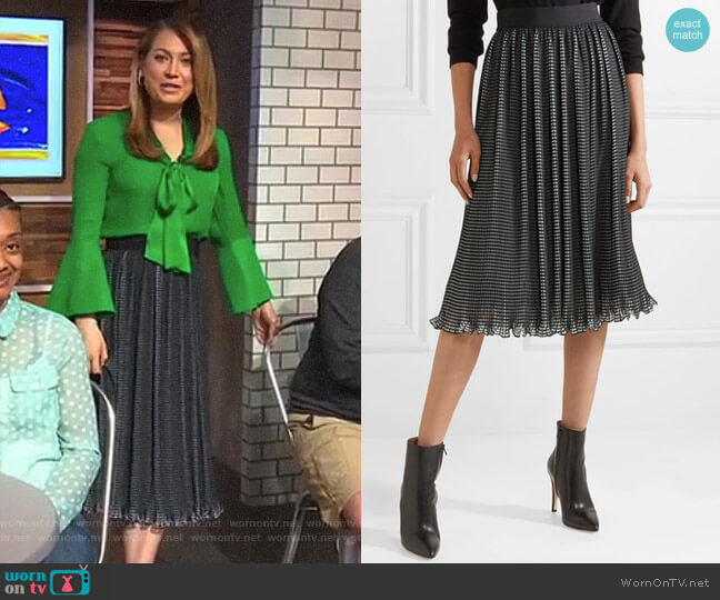 'Mikaela' Midi Skirt by Alice + Olivia worn by Ginger Zee  on Good Morning America