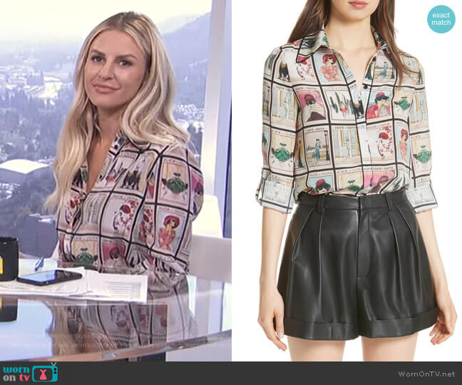Santana Silk Shirt by Alice + Olivia worn by Morgan Stewart on E! News