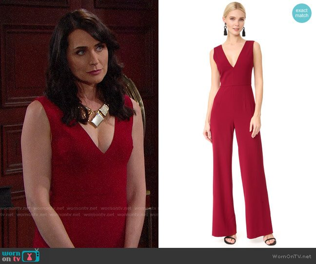 Alice + Olivia Lina Jumpsuit worn by Quinn Fuller (Rena Sofer) on The Bold & the Beautiful