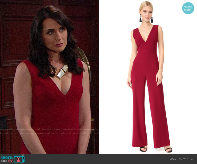 Alice + Olivia Lina Jumpsuit worn by Rena Sofer on The Bold & the Beautiful