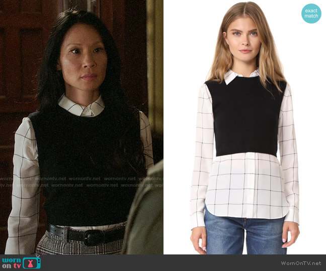 Alice + Olivia Lucinda Sweater Vest Combo Shirt worn by Joan Watson (Lucy Liu) on Elementary