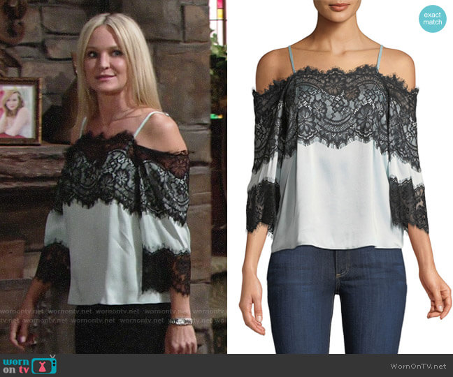 Alice + Olivia Oralia Blouse worn by Sharon Case on The Young & the Restless