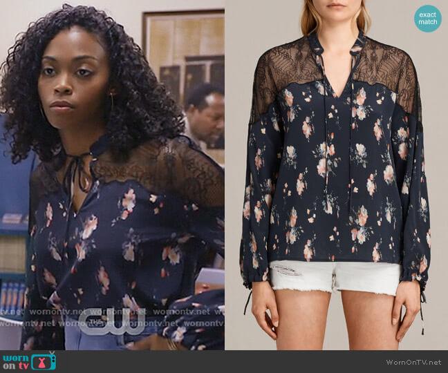 Laya Meadow Silk Top by All Saints worn by Anissa Pierce (Nafessa Williams) on Black Lightning