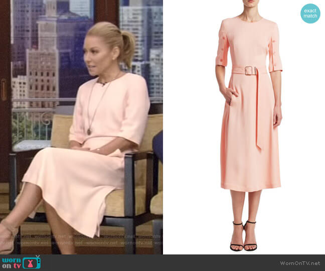 Elena A-Line Belted Dress by Altuzarra worn by Kelly Ripa on Live with Kelly & Ryan